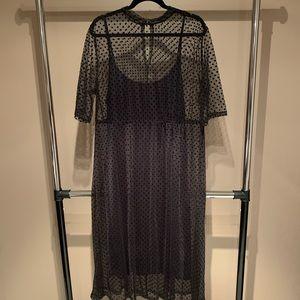 ASOS Layered Polka Dot Midi Dress - Size 14
